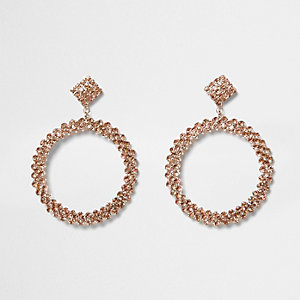 Rose gold tone rhinestone hoop drop earrings