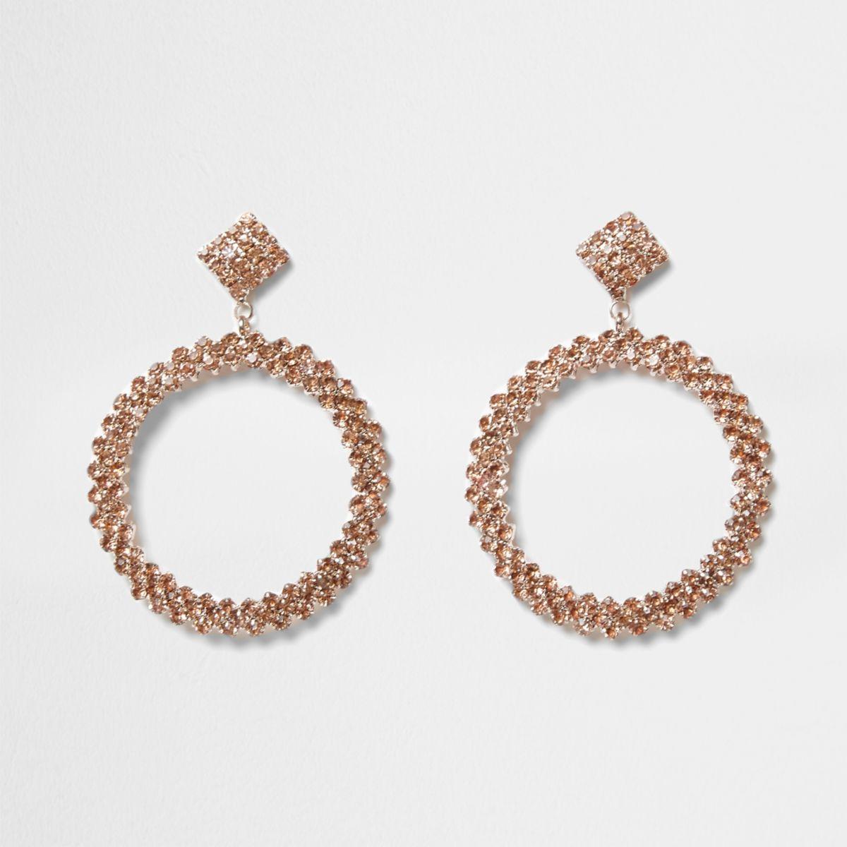 Rose gold tone rhinestone hoop drop earrings