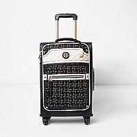 Valise en tweed noir à quatre roues