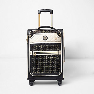 Black tweed four wheel suitcase