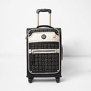 Zwarte tweed koffer met vier wielen