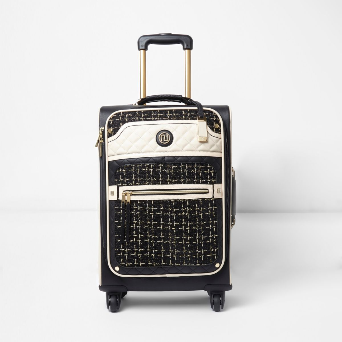 Black tweed four wheel suitcase