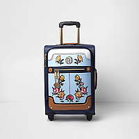 Blue floral embroidered four wheel suitcase