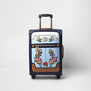 Blauer Koffer mit vier Rädern und Blumenmuster