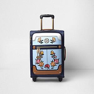Blauwe koffer met vier wielen en geborduurde bloemen