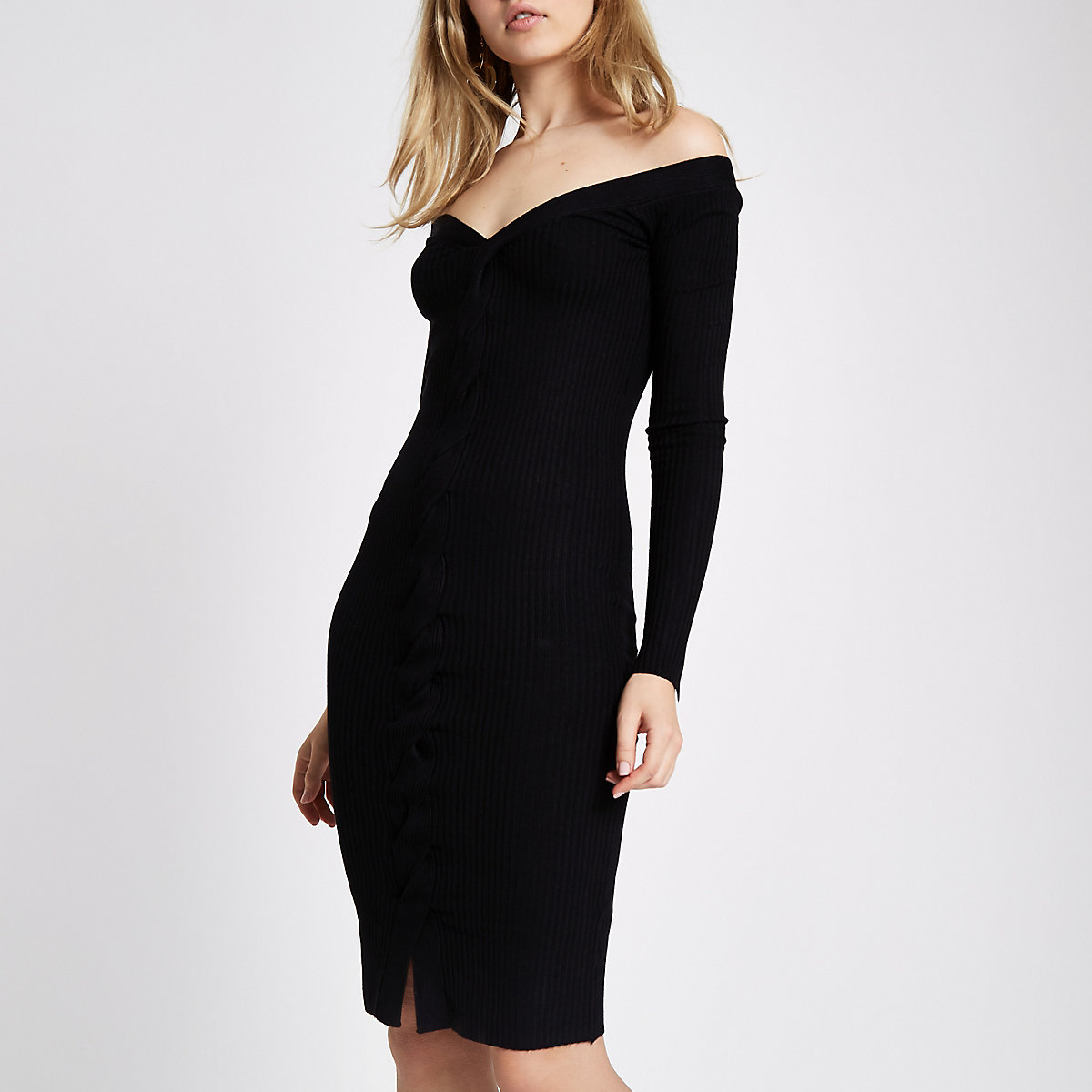 Black cable knit cut out midi dress