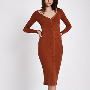Dark orange cable knit cut out dress