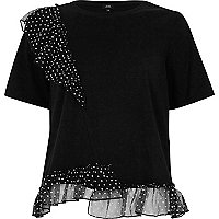 Black frill polka dot T-shirt