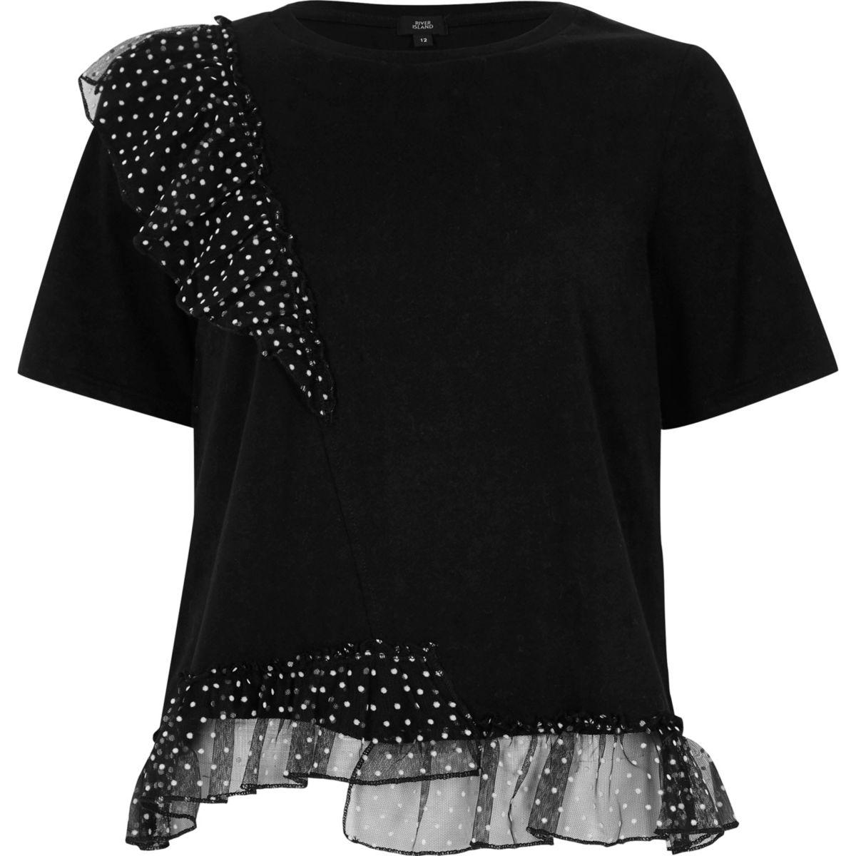 Zwart T-shirt met ruches en stippen