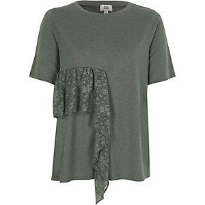 Khaki lace frill T-shirt