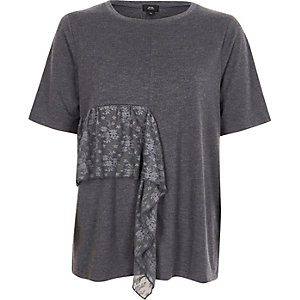 Dark grey lace frill T-shirt