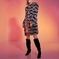 Grey RI Studio faux fur stripe coat