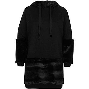 Black faux fur trim longline hoodie
