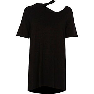 Black cut out neck longline T-shirt