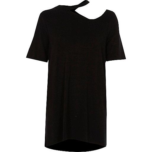 Black cut out neck longline T-shirt
