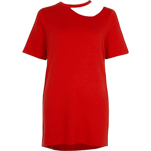 Dark red cut out neck oversized T-shirt