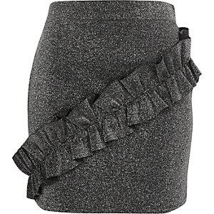Mini-jupe gris foncé pailletée à volant