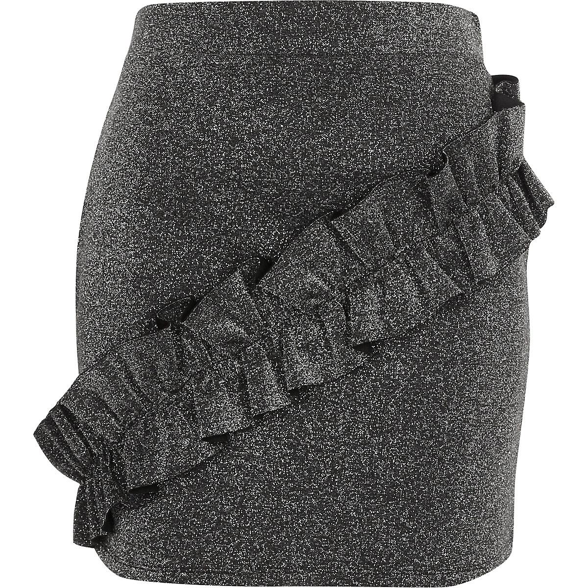 Dark grey glitter frill mini skirt