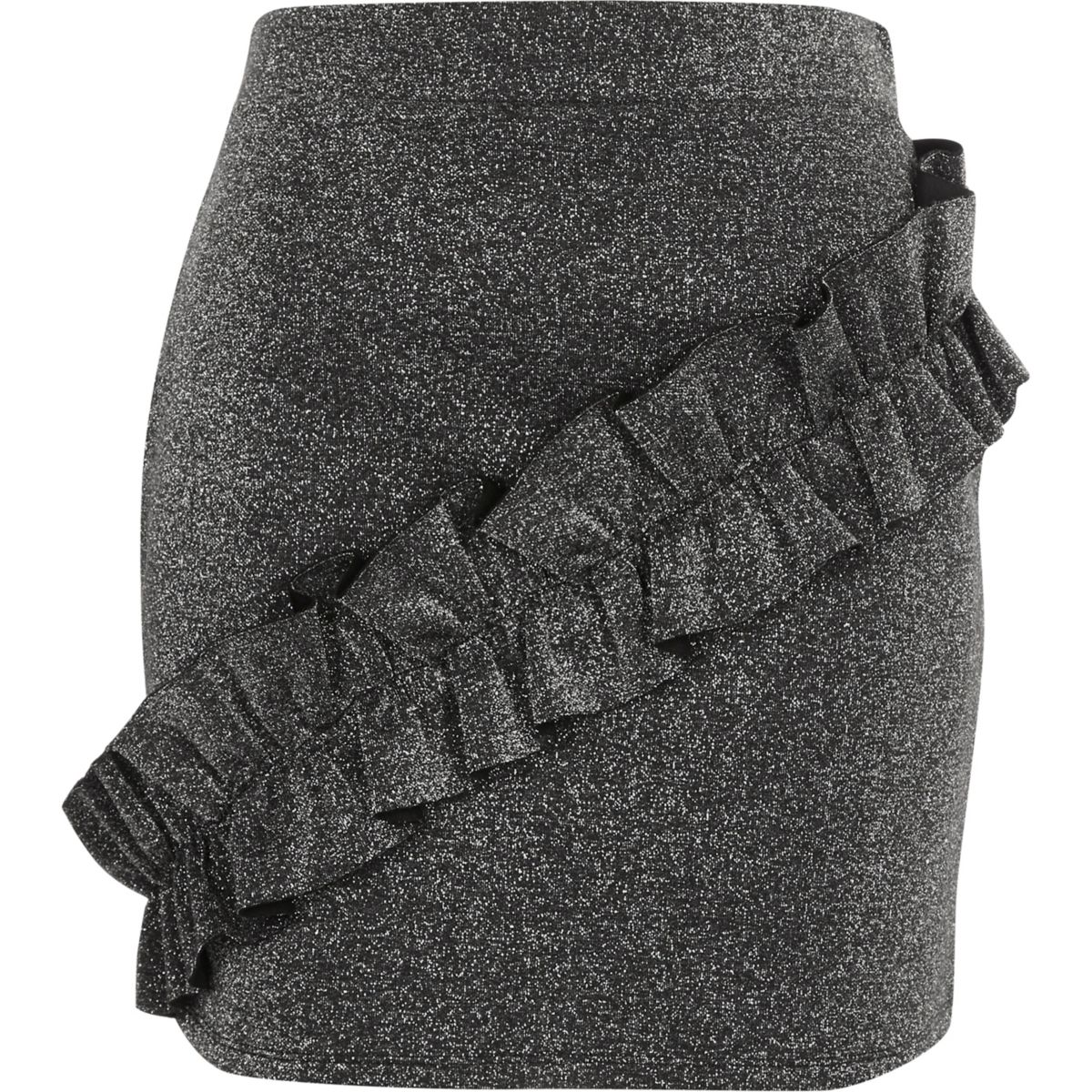 Dark grey glitter frill mini skirt