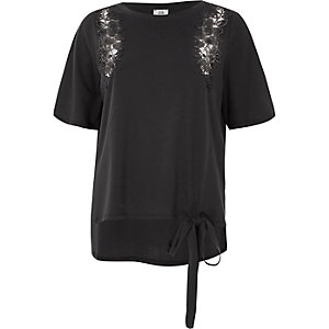 Dark grey floral applique tie hem T-shirt