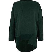Dark green dipped hem sweatshirt