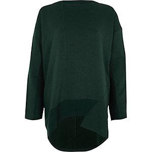 Donkergroen sweatshirt met lange achterkant