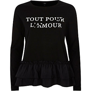 Black 'tout pour' print peplum hem T-shirt