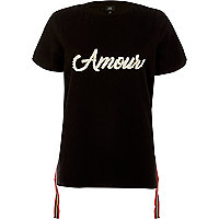 Black 'amour' faux pearl tape trim T-shirt