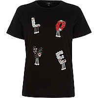 Black 'love' sequin embellished T-shirt