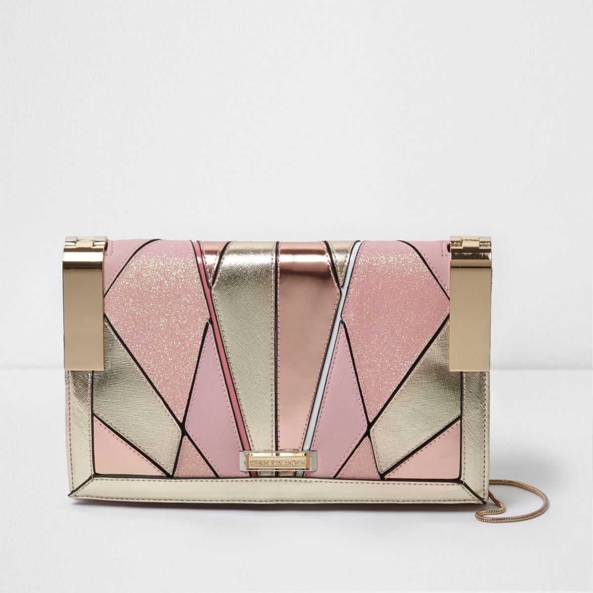 Pink glitter cutabout hinged clutch bag