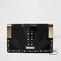 Black cutabout faux pearl hinged clutch bag