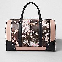Black floral print weekend bag