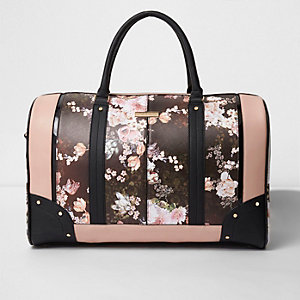 Black floral print weekend bag