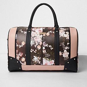 Zwarte weekendtas met bloemenprint