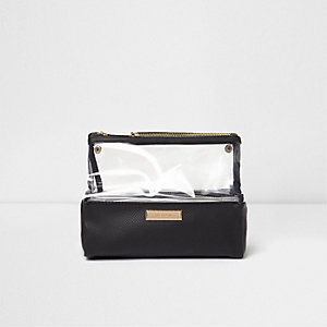 Black clear plastic travel wash bag