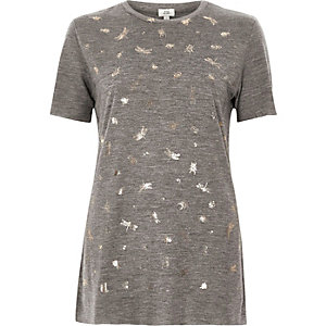 Grey foil bug print fitted T-shirt