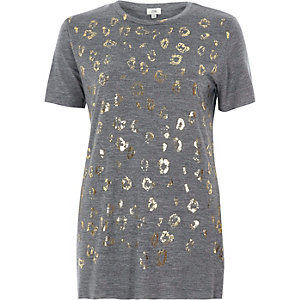 Grey foil animal print fitted T-shirt