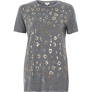 T-shirt ajusté à imprimé animal métallisé gris