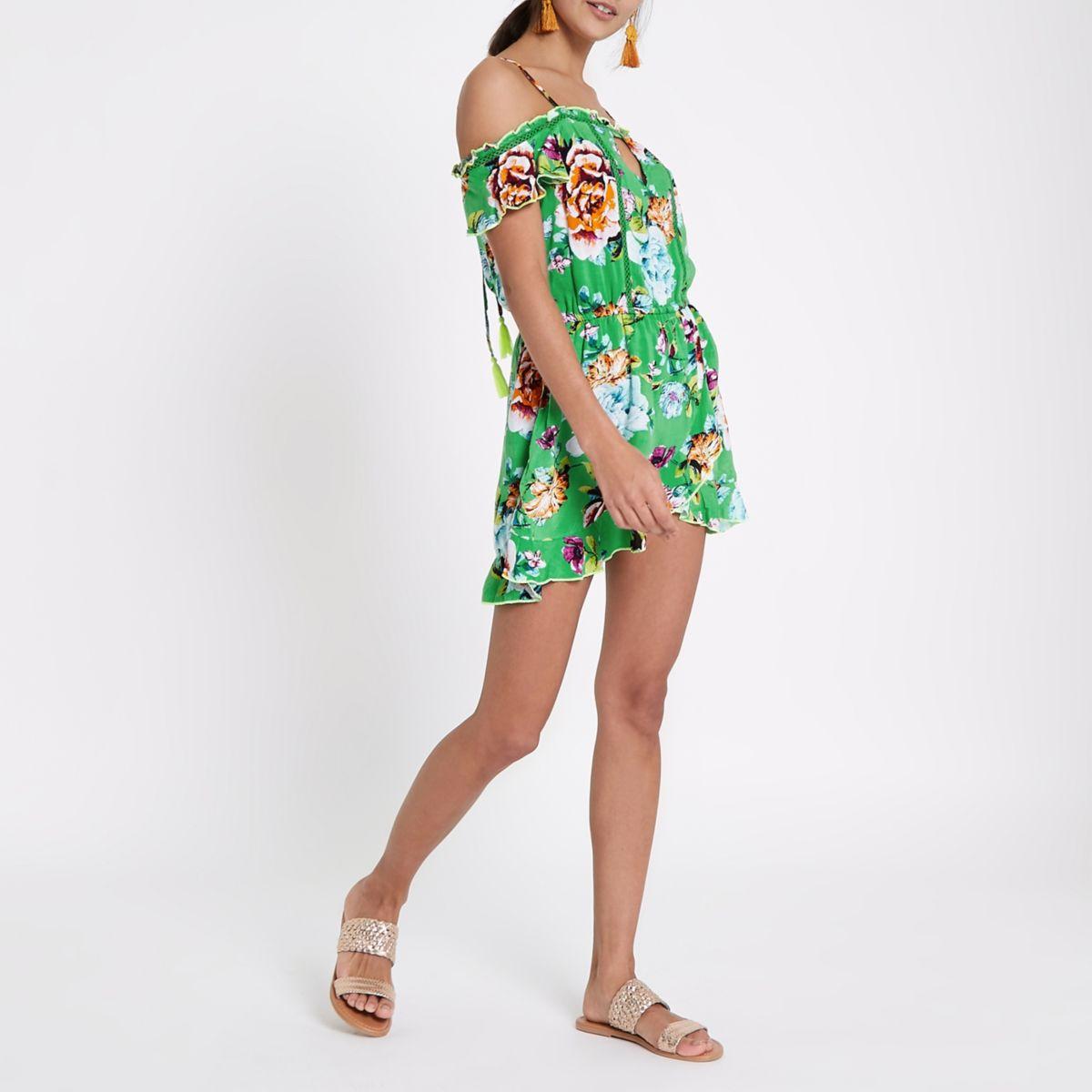 Green floral cold shoulder beach dress