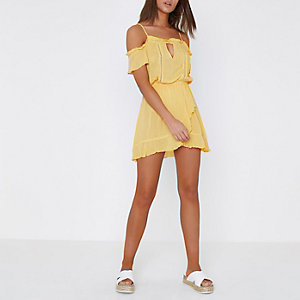 Yellow cold shoulder wrap front beach dress