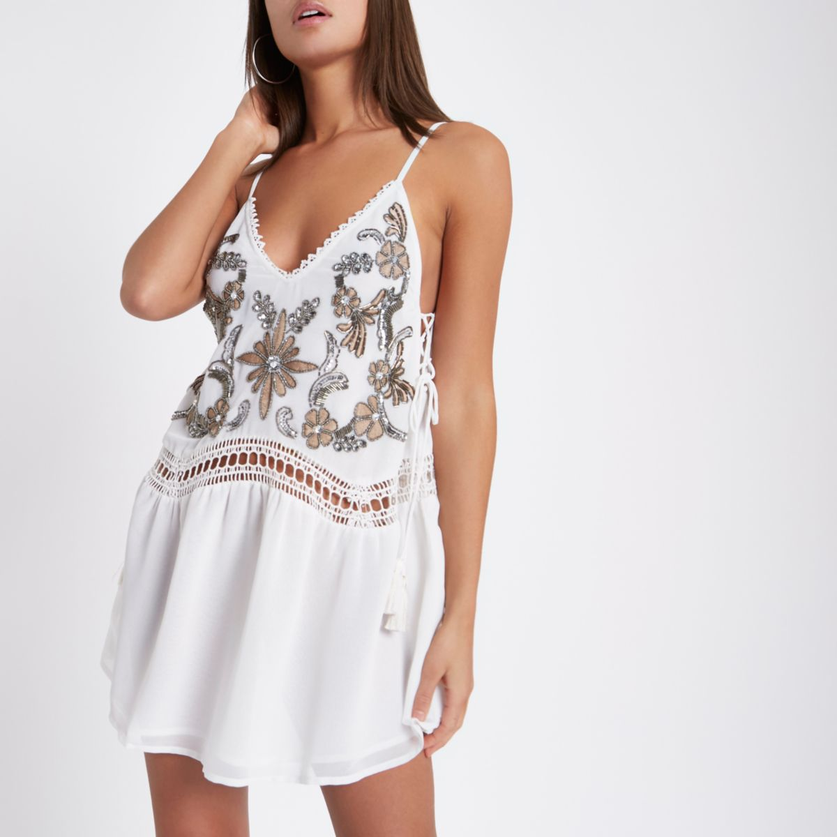 White embellished drop waist beach dress