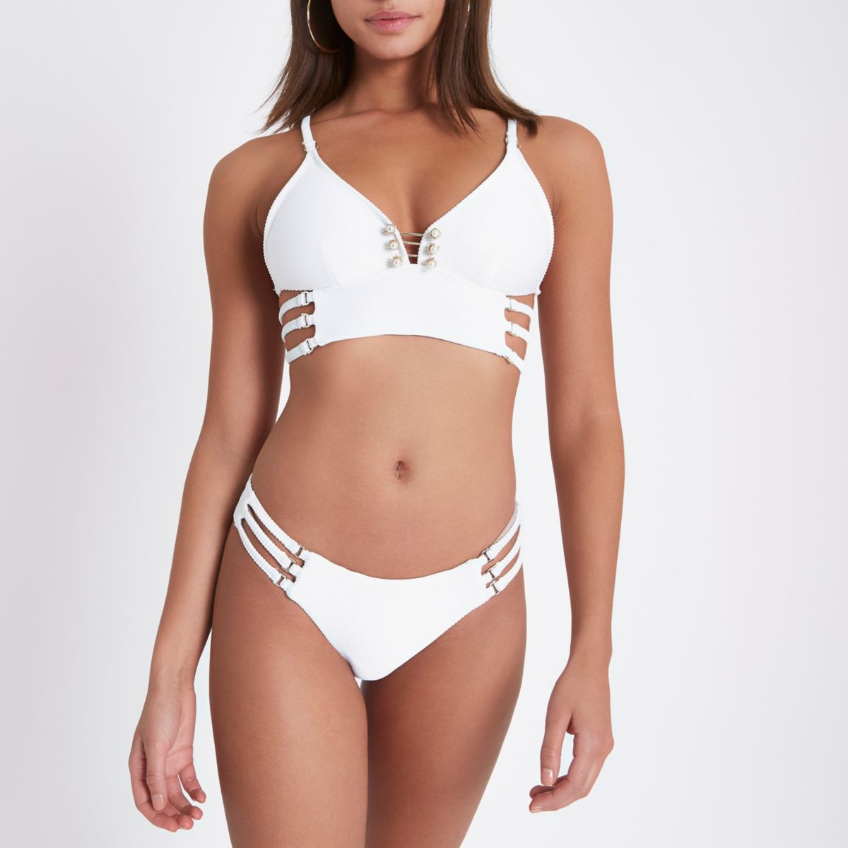 White rib strappy side bikini bottoms