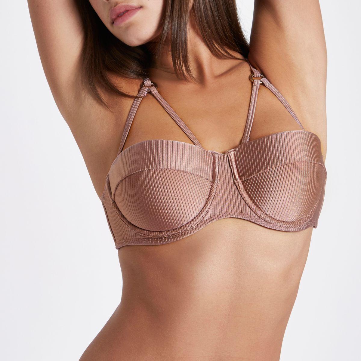 Light pink metallic rib balconette bikini top