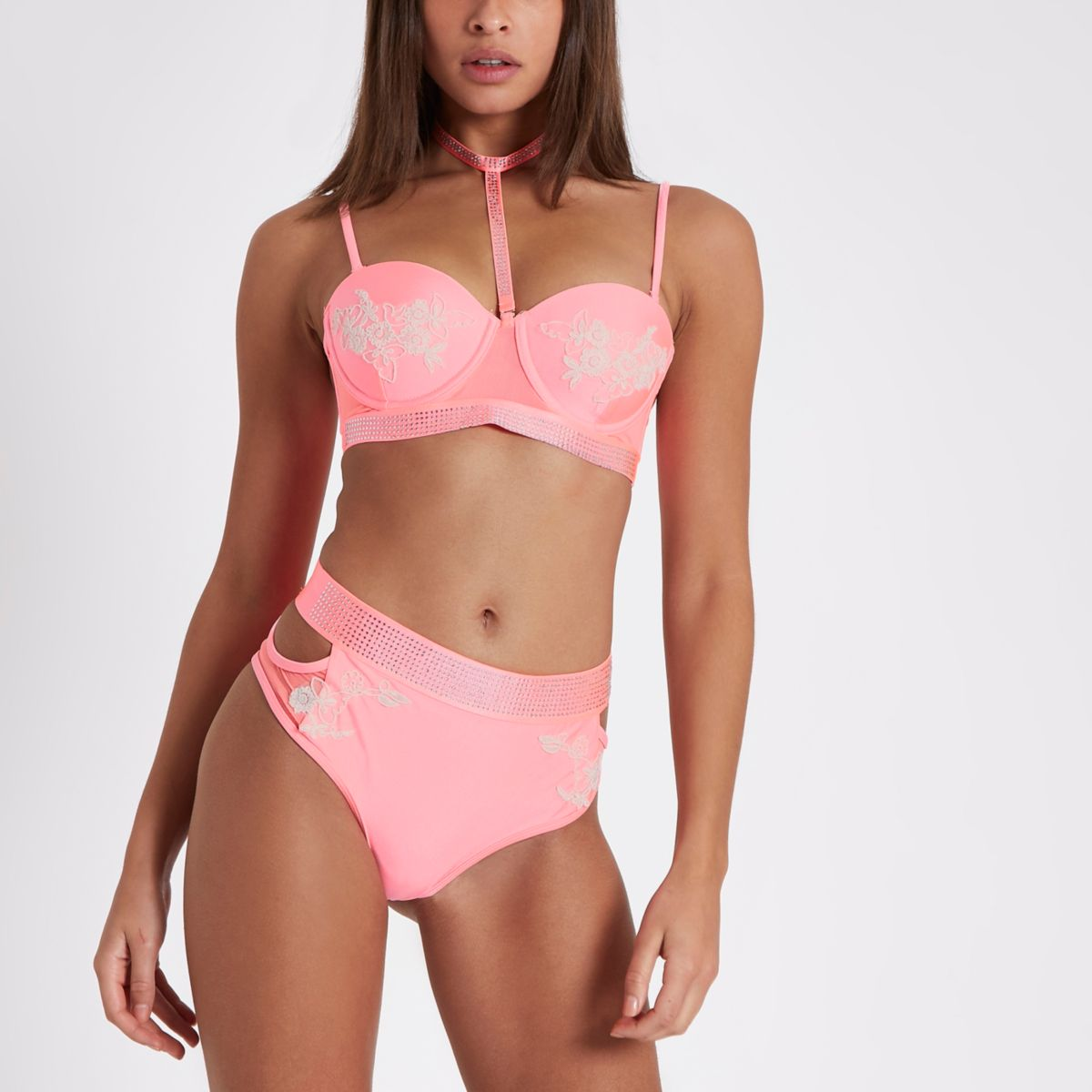 Coral diamante high waisted bikini bottoms