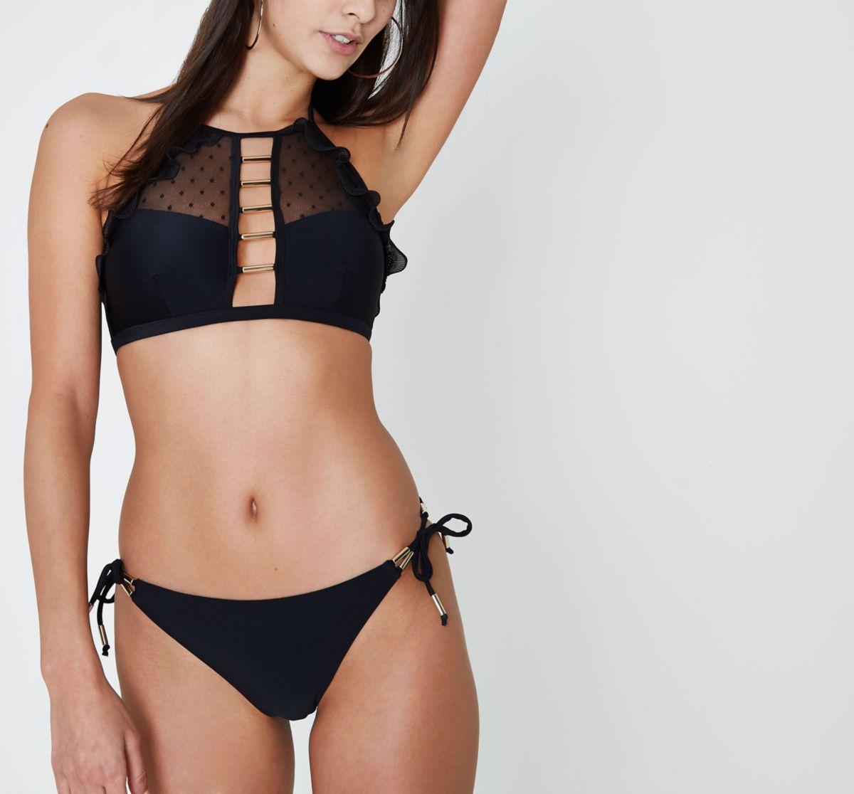 Black tie side bikini bottoms
