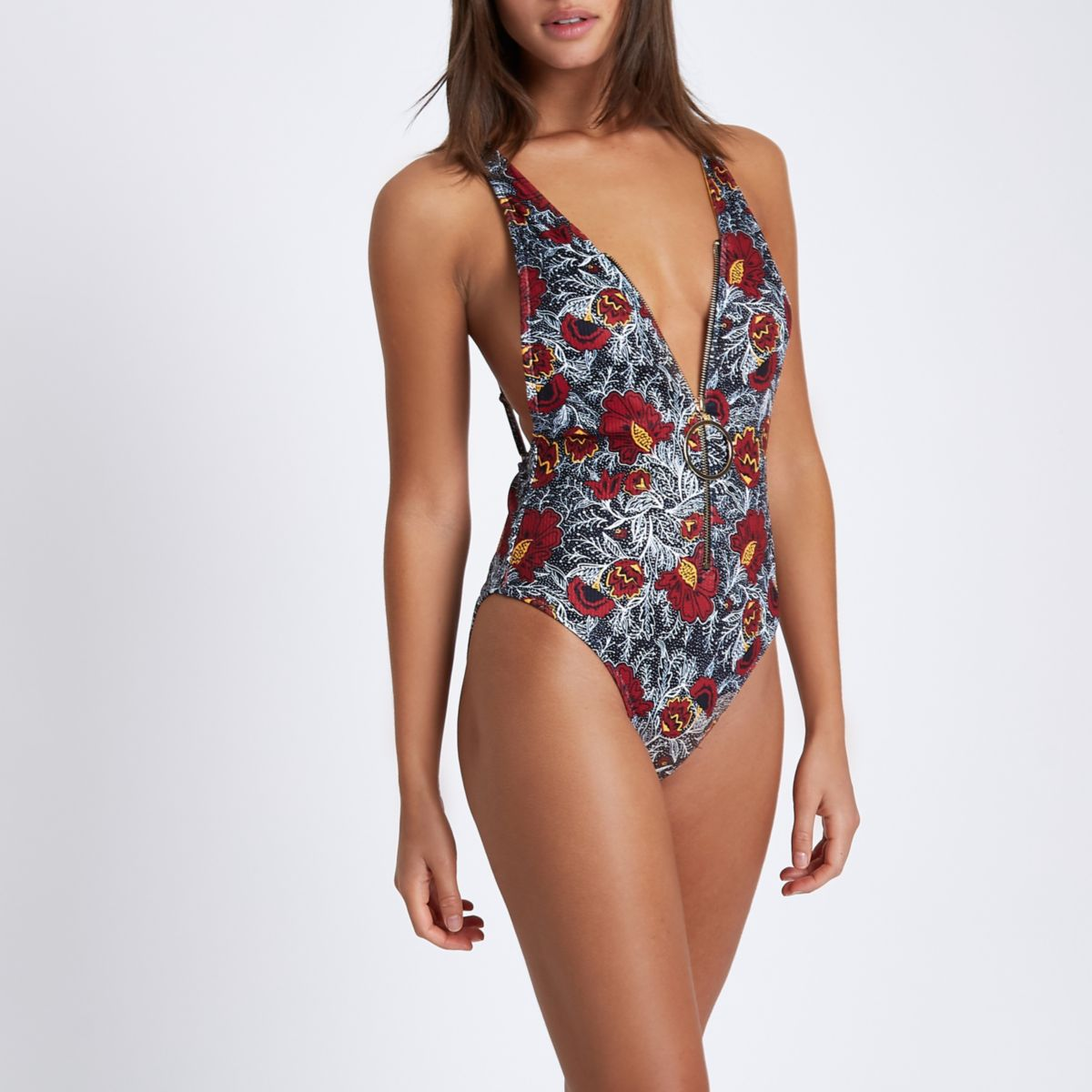 Black floral zip ring pull plunge swimsuit