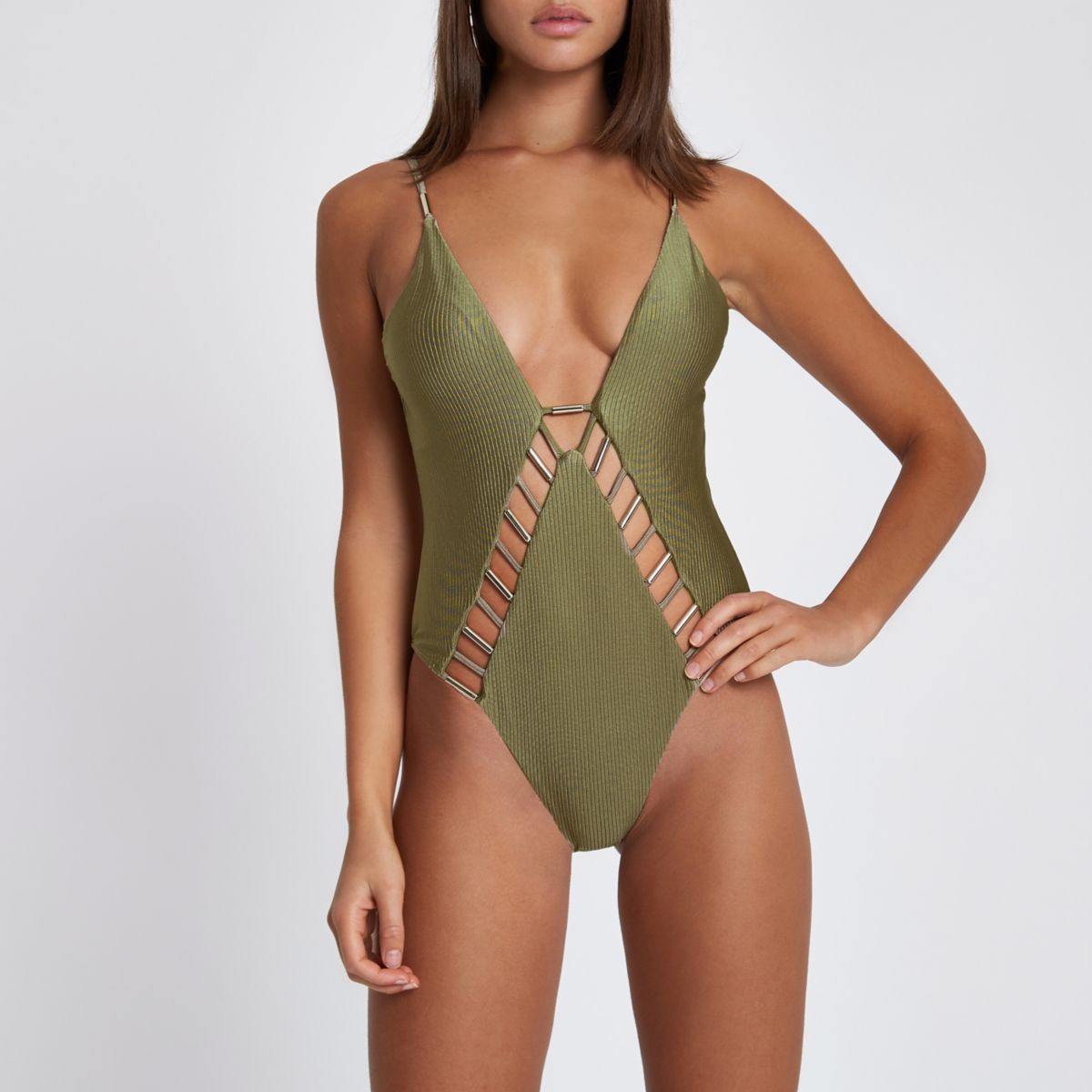 Khaki ribbed bar insert plunge swimsuit