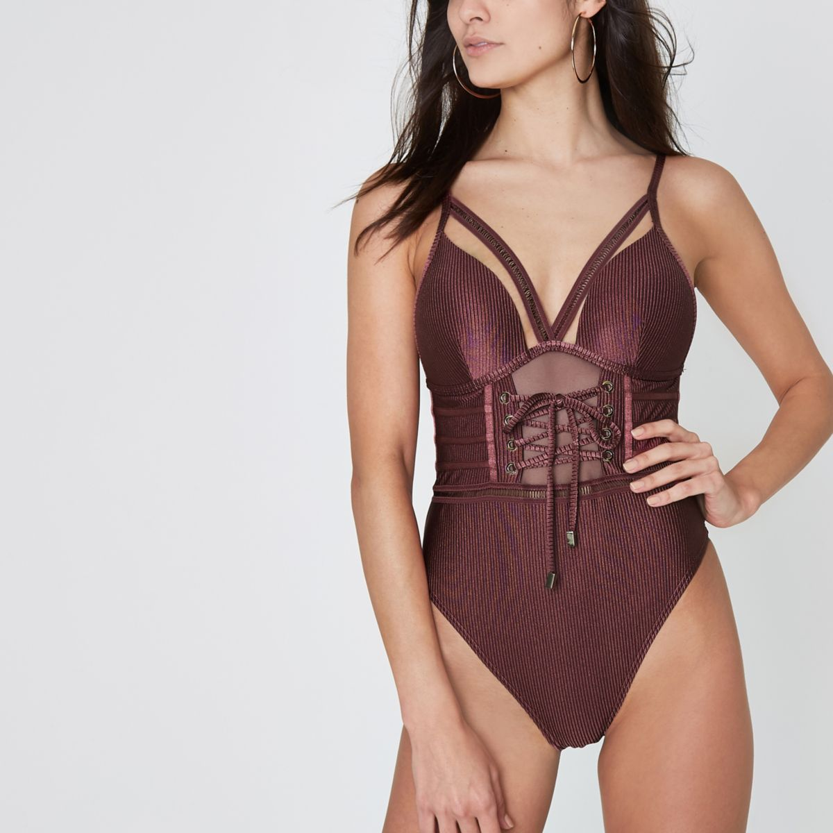Dark purple plunge corset swimsuit