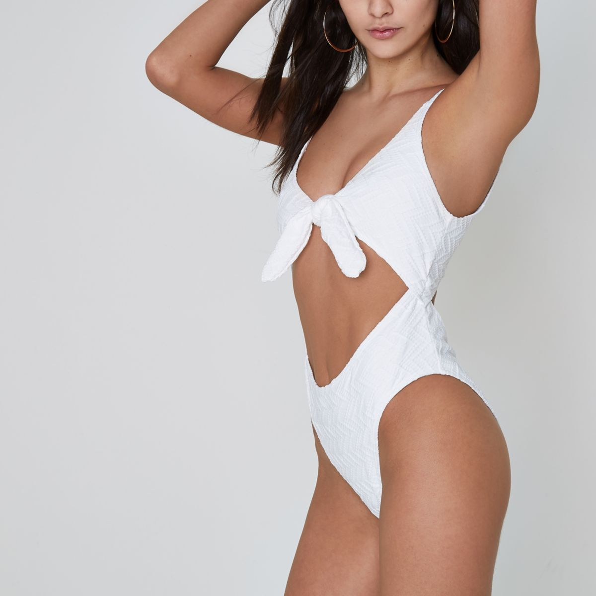 White textured knot front cut out swimsuit