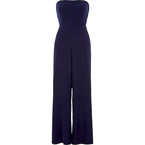 Navy bandeau wide leg jumpsuit